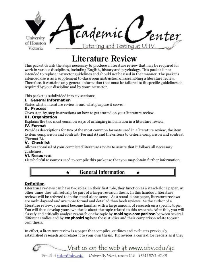 Literature ReviewThis packet details the steps necessary to produce a literature review that may be required forwork in va...