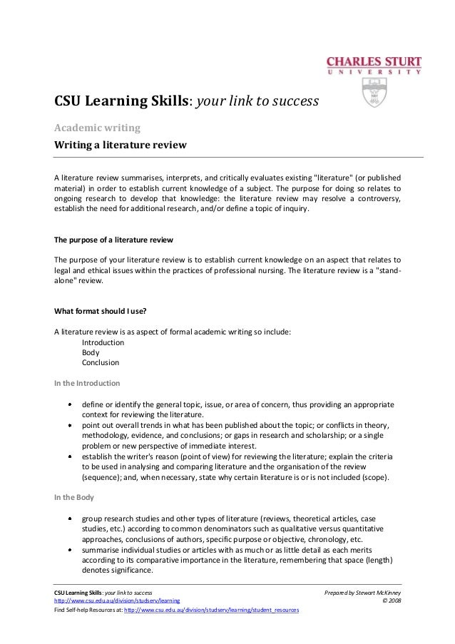 how to write literature review how to write literature review csu learning skills your link to success prepared by stewart mckinney