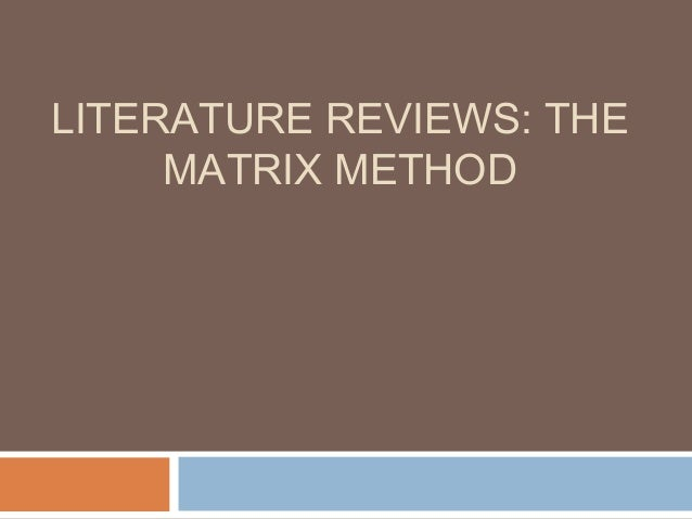 Literature review matrix mclean LinkedIn