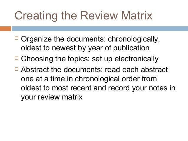 lit review matrix and references Guide to writing a literature review  guide to writing a literature review  skip to  matrix or concept map to identify how the different sources relate to each.
