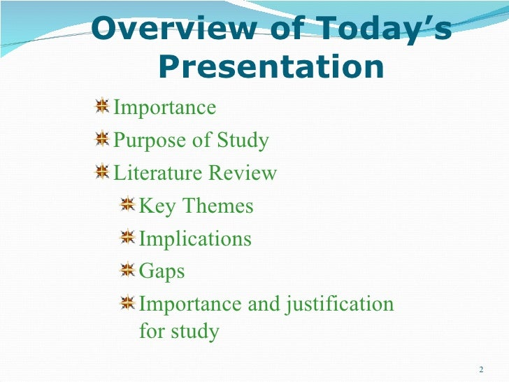 the literature review presents Doing a literature review study guide it can also establish a framework within which to present and analyse the findings.
