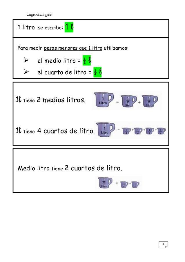 Laguntza gela1 litro      se escribe:   1lPara medir pesos menores que 1 litro utilizamos:            el medio litro = ½ ...