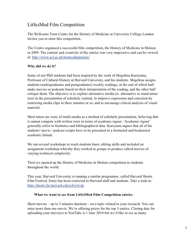 LitSciMed Film Competition The Wellcome Trust Centre for the History of Medicine at University College London invites you ...