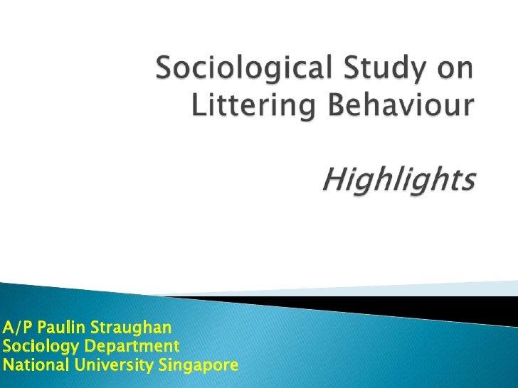 A/P Paulin StraughanSociology DepartmentNational University Singapore