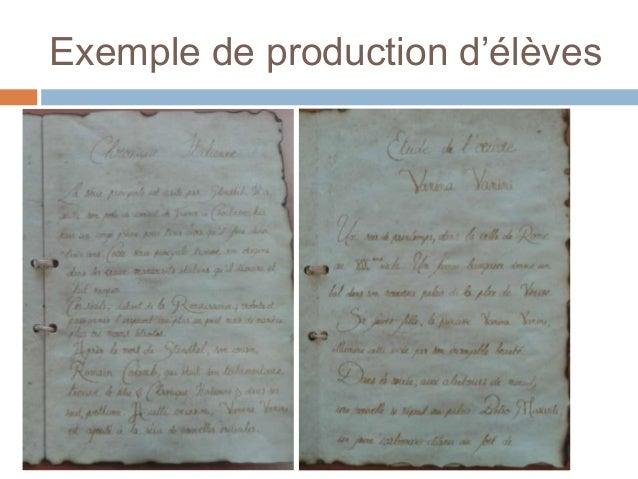 Exemple de production d'élèves