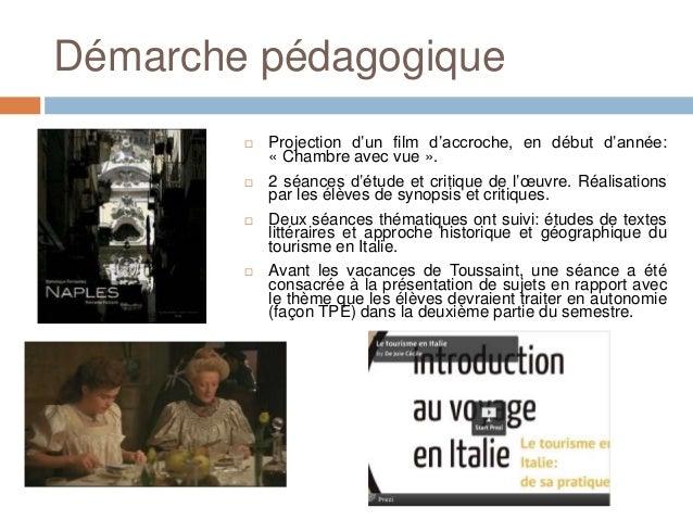 Démarche pédagogique           Projection d'un film d'accroche, en début d'année:            « Chambre avec vue ».       ...