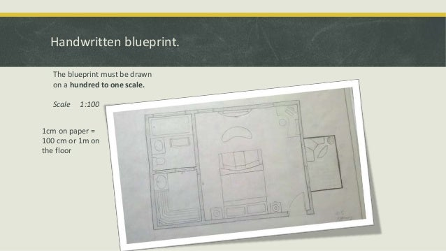 Handwritten blueprint. The blueprint must be drawn on a hundred to one scale. Scale  1:100  1cm on paper = 100 cm or 1m on...
