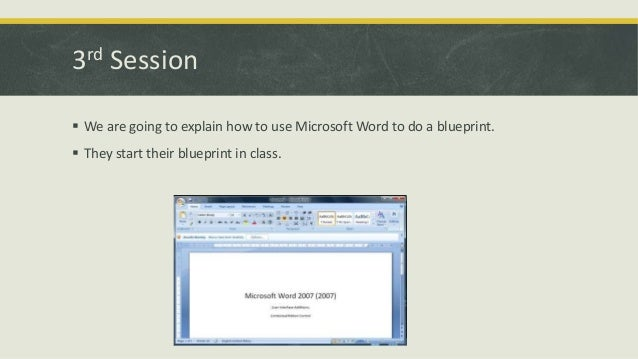 3rd Session  We are going to explain how to use Microsoft Word to do a blueprint.  They start their blueprint in class.