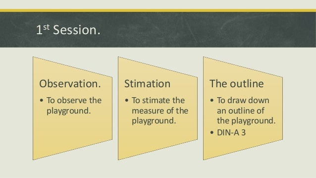 1st Session.  Observation.  Stimation  The outline  • To observe the playground.  • To stimate the measure of the playgrou...