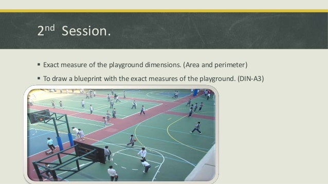 2nd Session.  Exact measure of the playground dimensions. (Area and perimeter)  To draw a blueprint with the exact measu...