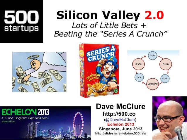 """Silicon Valley 2.0Lots of Little Bets +Beating the """"Series A Crunch""""Dave McClurehttp://500.co(@DaveMcClure)Echelon 2013Sin..."""