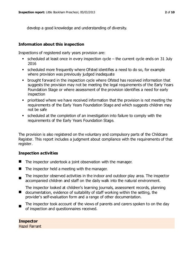 Little Bookham Preschool - Ofsted Report March 2013 Slide 2