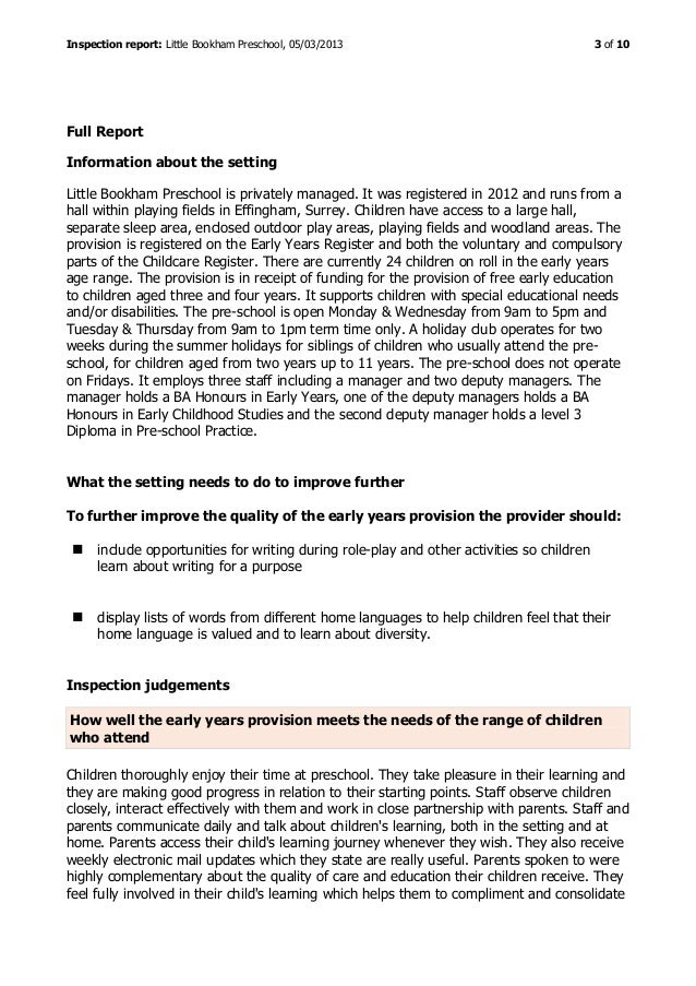 Little Bookham Preschool - Ofsted Report March 2013 Slide 3