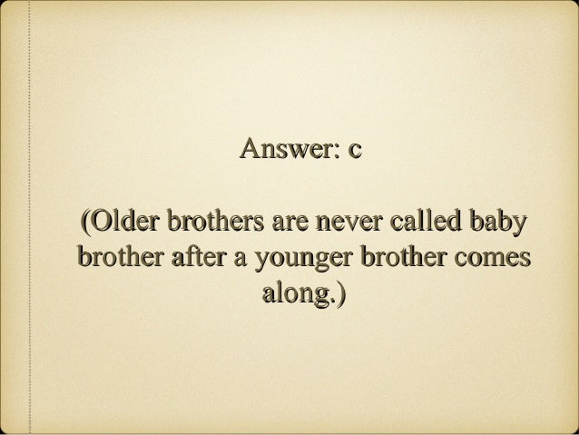 The Brother Project A Little Brother Quiz