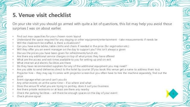 event site visit checklist