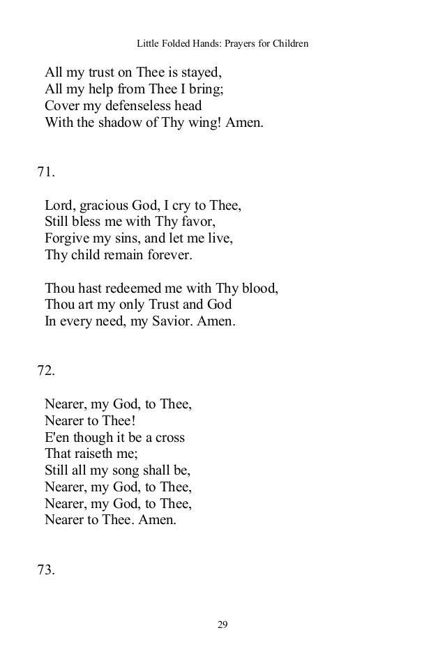Lyric nearer my god to thee lyrics : Little Folded Hands: Prayers for Children - Christian Classic Books
