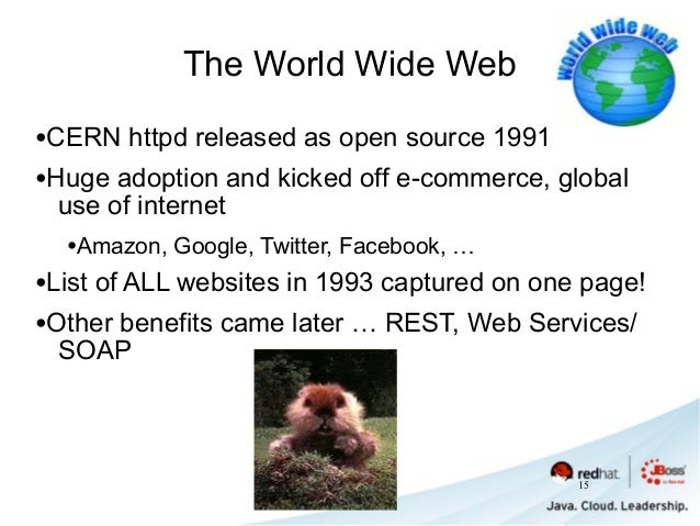 The World Wide Web •CERN httpd released as open source 1991 •Huge adoption and kicked off e-commerce, global use of intern...