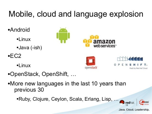 Mobile, cloud and language explosion •Android •Linux •Java (-ish) •EC2 •Linux •OpenStack, OpenShift, … •More new languages...