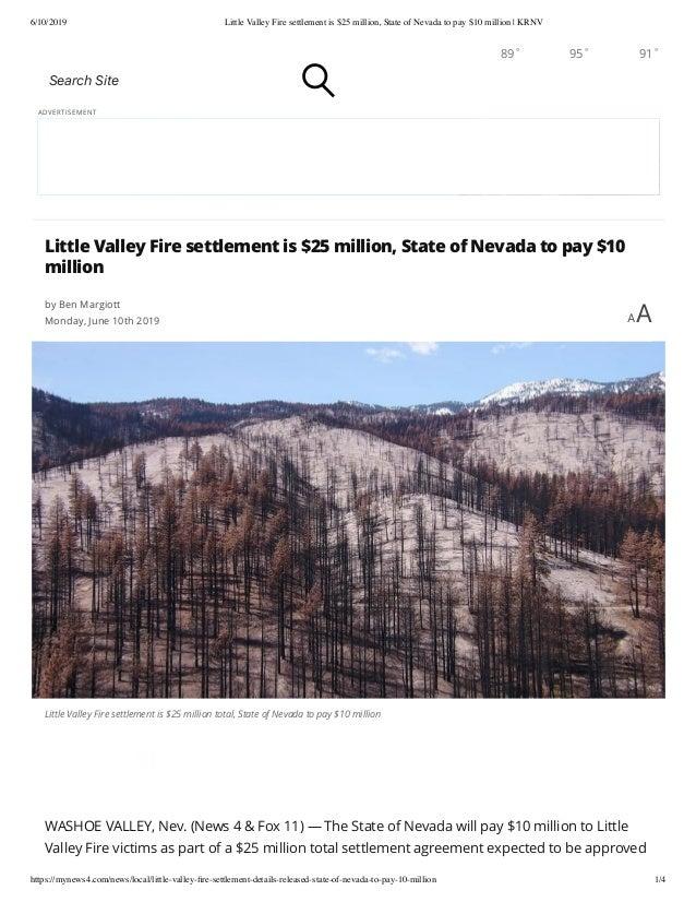 6/10/2019 Little Valley Fire settlement is $25 million, State of Nevada to pay $10 million | KRNV https://mynews4.com/news...