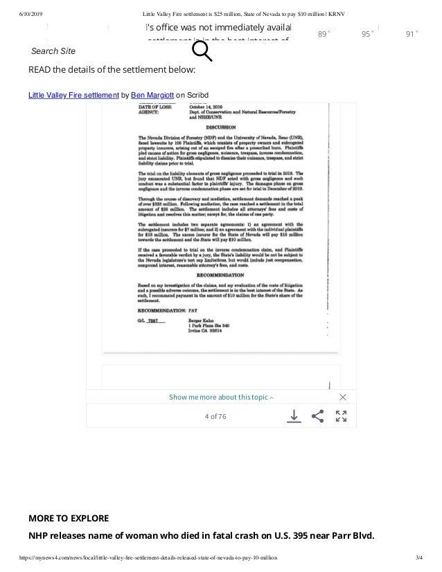 Little Valley Fire Settlement is $25 Million Slide 3