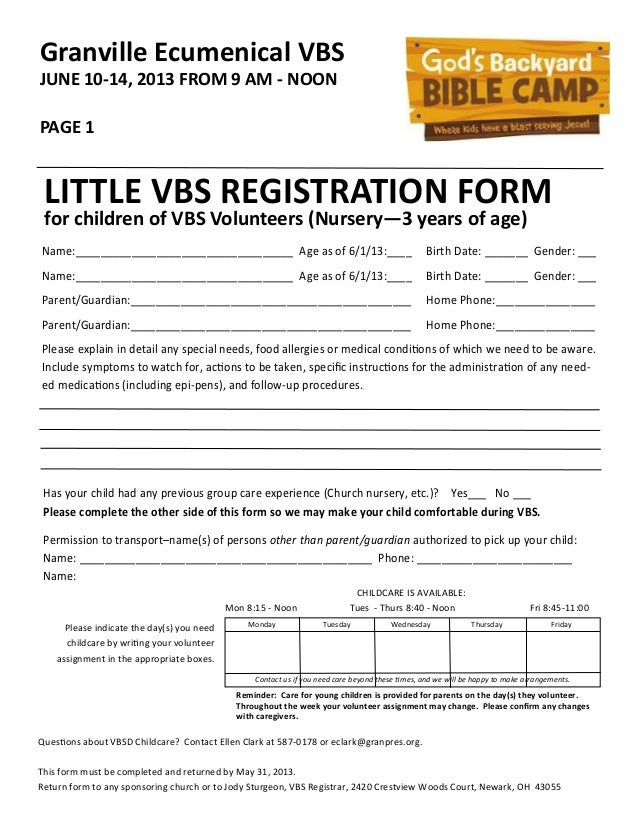 Little Vbs Registration Forms 2013