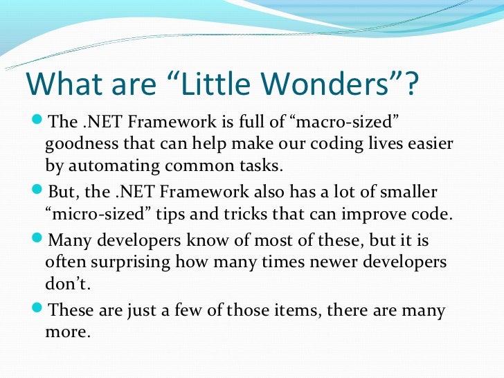 C#/.NET Little Wonders Slide 3