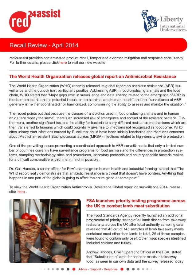 Recall Review - April 2014 red24assist provides contaminated product recall, tamper and extortion mitigation and response ...