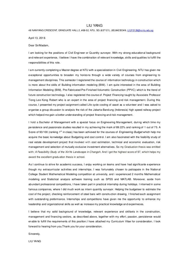 college student cover letter for internship