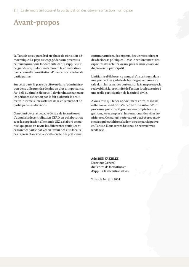 La démocratie locale et la participation des citoyens à l'action municipale Slide 2