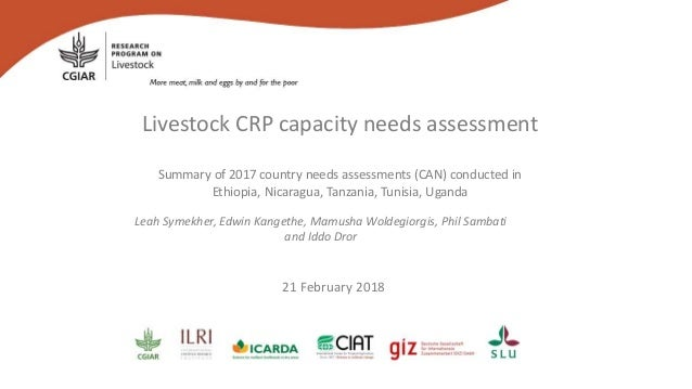 Livestock CRP capacity needs assessment Summary of 2017 country needs assessments (CAN) conducted in Ethiopia, Nicaragua, ...