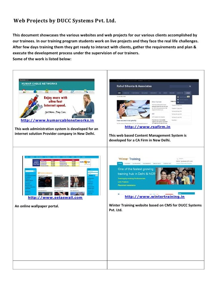 Web Projects by DUCC Systems Pvt. Ltd.This document showcases the various websites and web projects for our various client...