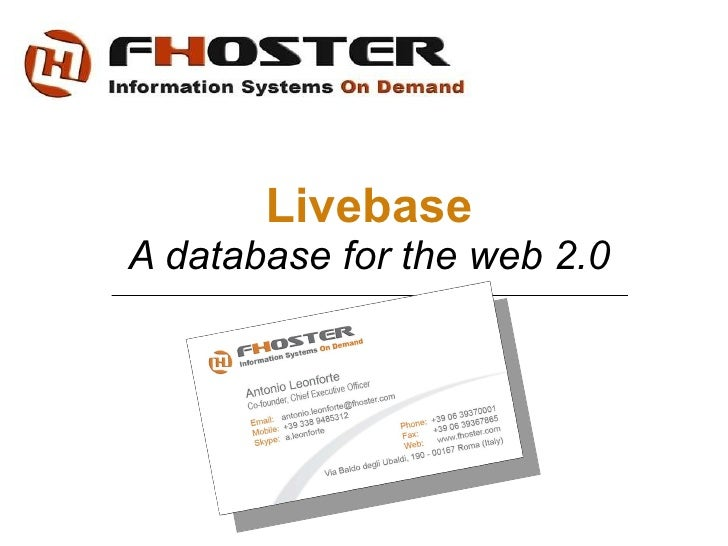 Livebase A database for the web 2.0