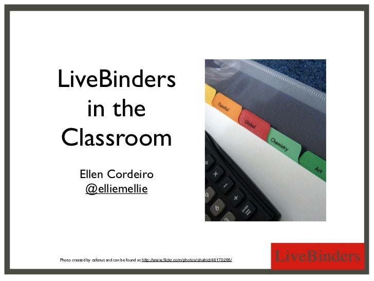 LiveBinders   in theClassroom          Ellen Cordeiro           @elliemelliePhoto created by cafenut and can be found at h...