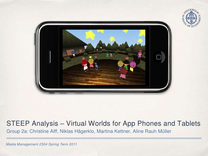 Media Management 2304 Spring Term 2011<br />STEEP Analysis – Virtual Worlds for App Phones and Tablets <br />Group 2a: Chr...