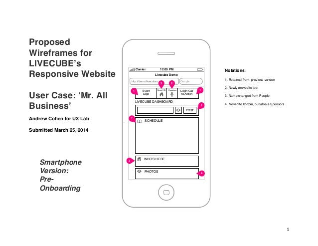 1	    Proposed Wireframes for LIVECUBE's Responsive Website User Case: 'Mr. All Business' Andrew Cohen for UX Lab Submit...