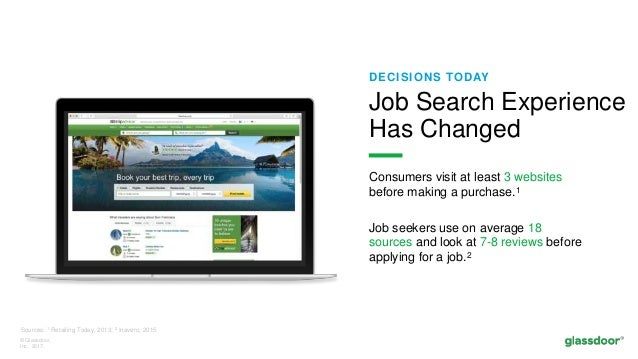 © Glassdoor, Inc. 2017. DECISIONS TODAY Consumers visit at least 3 websites before making a purchase.1 Job seekers use on ...