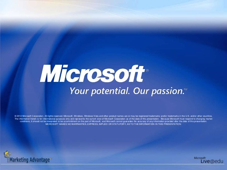 © 2012 Microsoft Corporation. All rights reserved. Microsoft, Windows, Windows Vista and other product names are or may be...