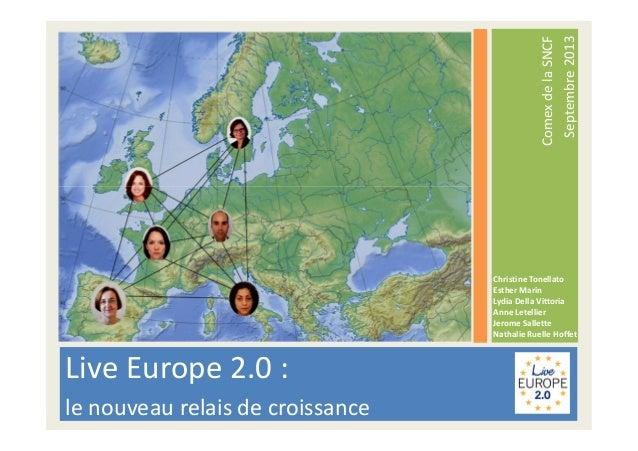 Live Europe 2.0 : le nouveau relais de croissance ComexdelaSNCF Septembre2013 Christine Tonellato Esther Marin Lydia Della...