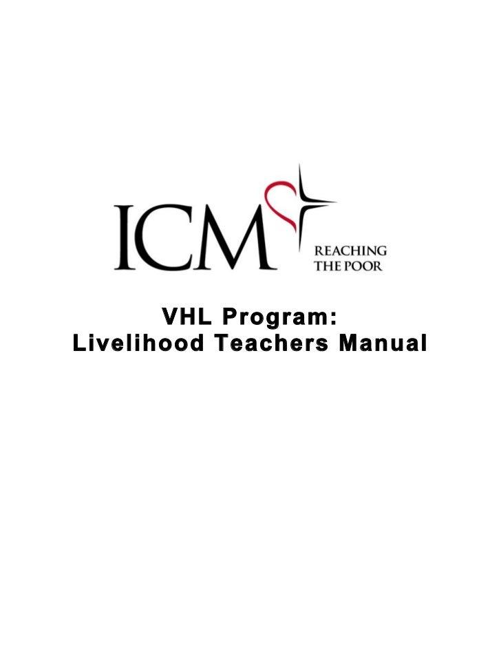 VHL Program:Livelihood Teachers Manual