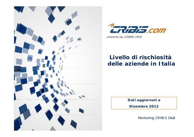 Livello di rischiositàdelle aziende in ItaliaDati aggiornati aDati aggiornati aDicembre 2012Marketing CRIBIS D&B