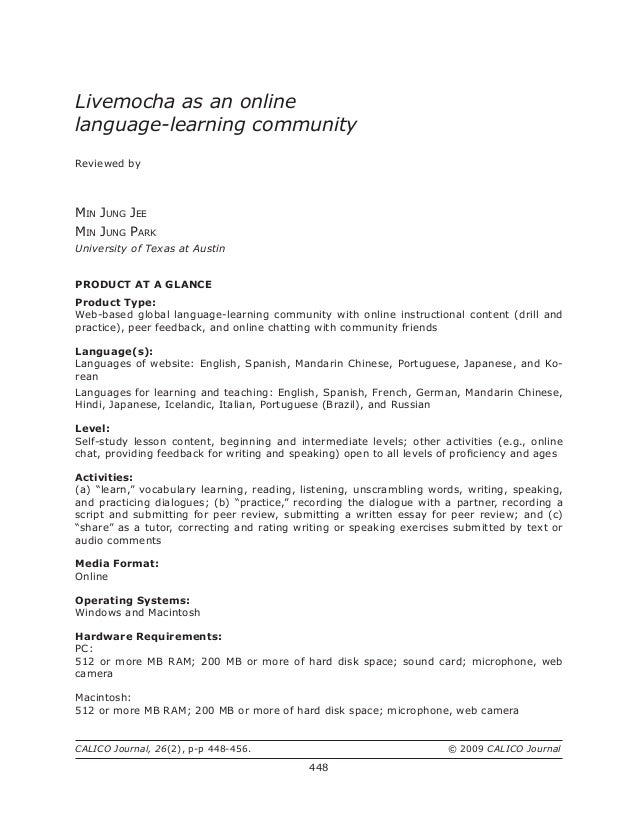 LiveMocha as an Online Language Learning Community