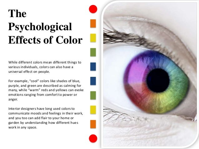 the effect of color on the Learn about the personality of color, the definition of warm and cool colors and how they react in a space, and how room color affects mood.