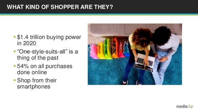 """WHAT KIND OF SHOPPER ARE THEY?  $1.4 trillion buying power in 2020  """"One-style-suits-all"""" is a thing of the past  54% o..."""