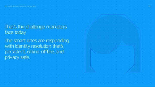 Why Identity Resolution matters to every marketer 29 That's the challenge marketers face today. The smart ones are respond...