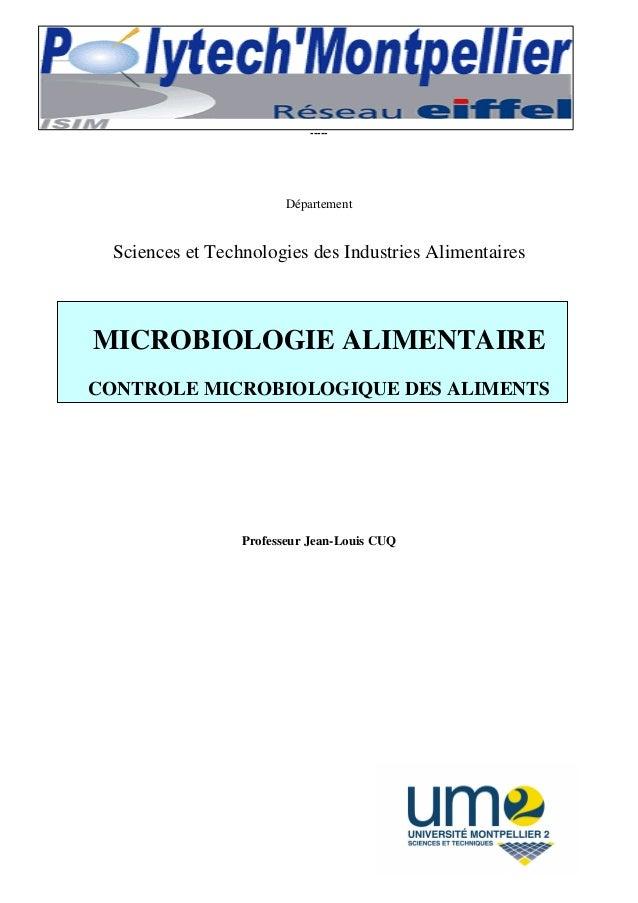 Contrôle microbiologique des aliments – Manuel technique. Polytech Département STIA. Page 1 ACADEMIE DE MONTPELLIER UNIVER...