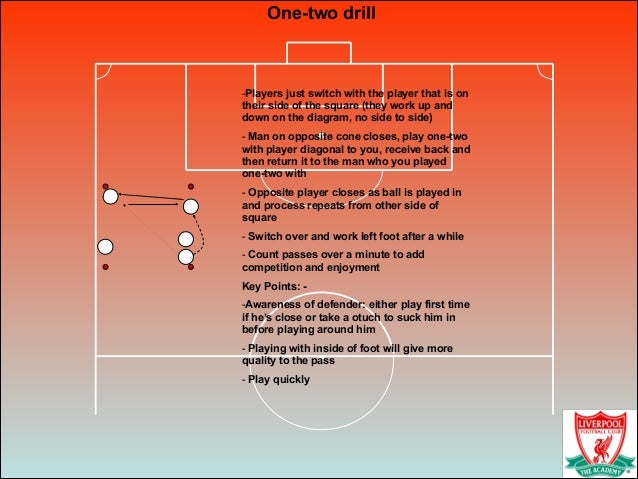 One-two drill -Players just switch with the player that is on their side of the square (they work up and down on the diagr...