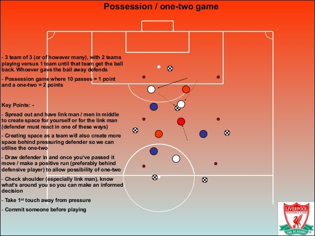 Possession / one-two game ! - 3 team of 3 (or of however many), with 2 teams playing versus 1 team until that team get the...