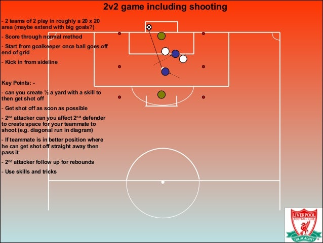 2v2 game including shooting! - 2 teams of 2 play in roughly a 20 x 20 area (maybe extend with big goals?) - Score through ...