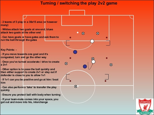Turning / switching the play 2v2 game ! - 2 teams of 3 play in a 30x15 area (or however many) - Whites attack two goals at...