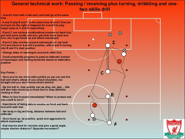 General technical work: Passing / receiving plus turning, dribbling and one- two skills drill! - A and D start with a ball...